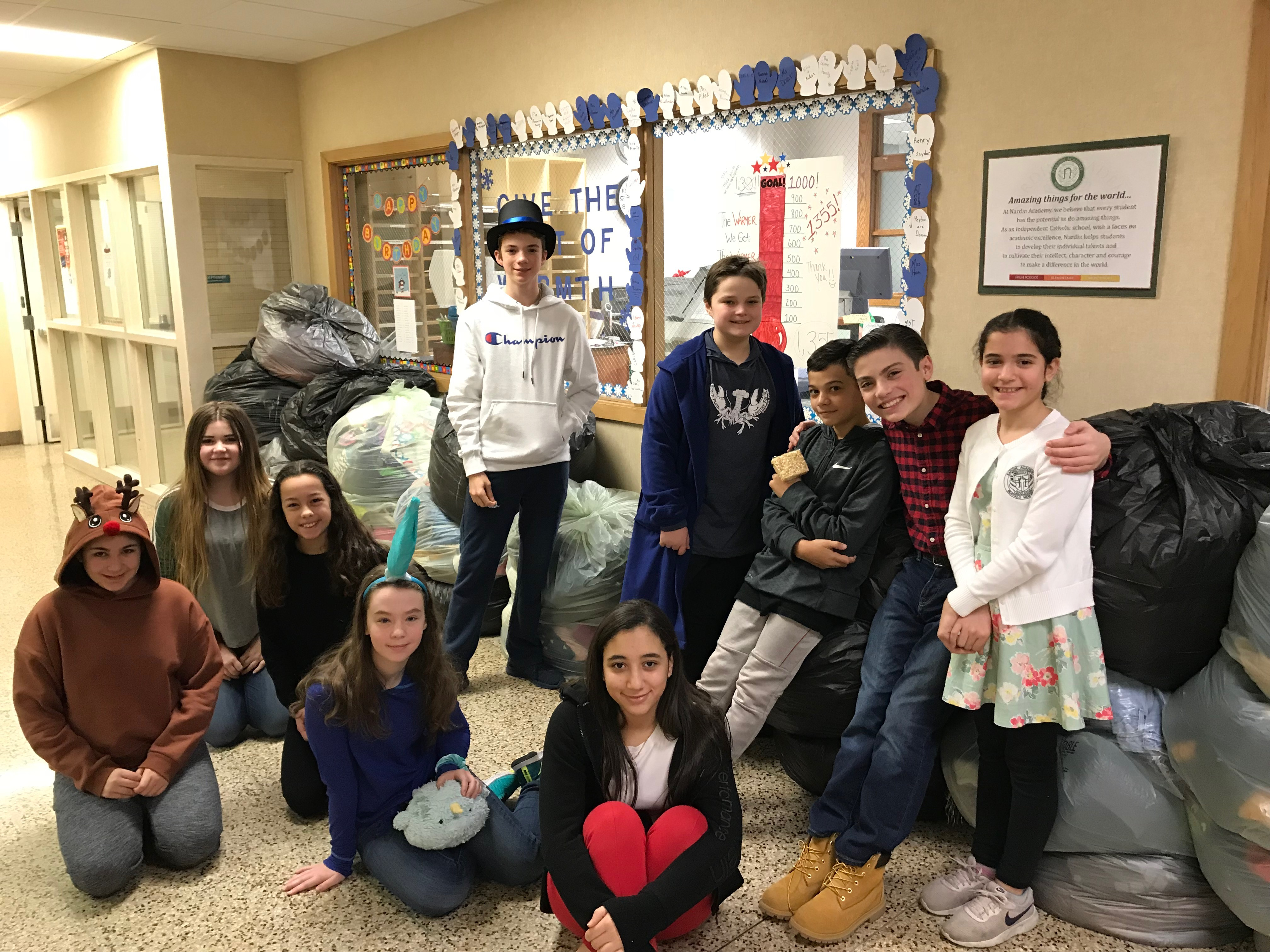 Middle School students with coat donations